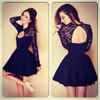 Women Lace Dresses Black O-neck Backless Hollow Clubwear Party Cocktail FH = 1931748484