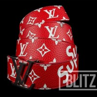 SUPREME / LOUIS VUITTON LV INITIALES 40 MM BELT RED MONOGRAM BOX LOGO