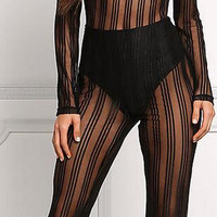 Black Patchwork See Through Women's Long Jumpsuits