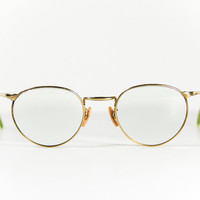 Steampunk Round Glasses Spectacles Gold Green Frames FREE SHIPPING