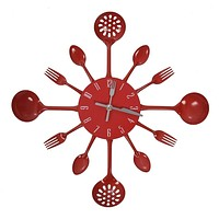 Red Cutlery Wall Clock