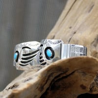 Sterling Silver Navajo Bear Claw Design Watch Tips with Expandable Bracelet