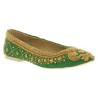 Office MADRAS BEADED PUMP GREEN SATIN Shoes - Womens Flats Shoes - Office Shoes