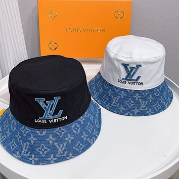 LV Louis vuitton new embroidery logo letters men's and women's bucket hat