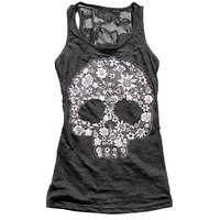 Summer Tank Tops Women Skull Vest Printing Women Casual Stretch Sheath Slim Sexy Back Lace Patchwork Vest