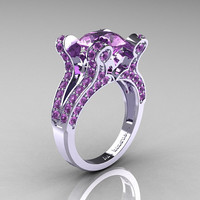 Valkyrie - French Vintage 14K White Gold 3.0 Lilac Amethyst Pisces Wedding Ring Engagement Ring R228-WGRRG