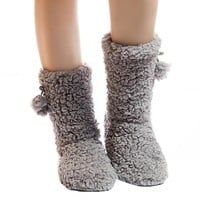 Grey Fuzzy Slipper Socks