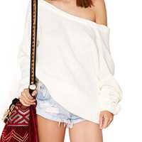 'The Daisy' White Off-Shoulder Pullover Sweater