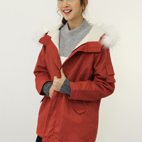 Red Long Sleeve Hooded Coat with Fur Collar