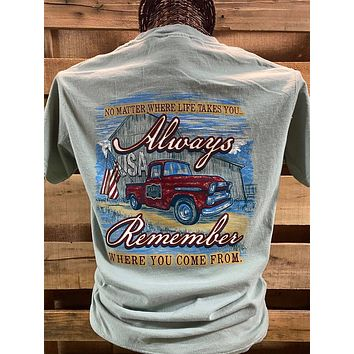 Backwoods Born & Raised Always Remember Where You Come From Comfort Colors Bright Unisex T Shirt