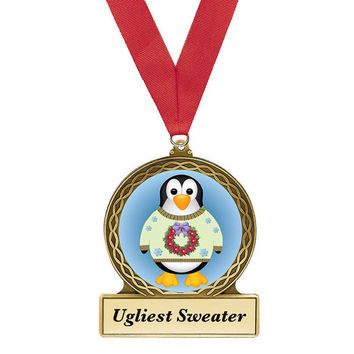 Ugly Christmas Sweater, Award, Christmas Sweater Award, Penguin, Ugly Sweater Party, Penguin Metal Award, Christmas Award