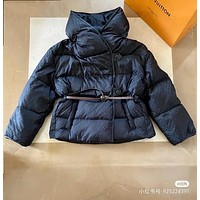 LV Louis Vuitton Warm Winter Down Jacket Windproof Hooded Collar Men's Parka Male Big Coat Smart Casual Covered Button