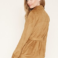 Belted Faux Suede Jacket | Forever 21 - 2000182322