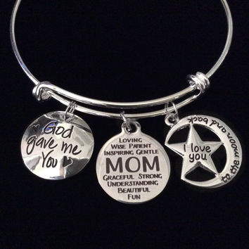 Mothers Day Special Expandable Charm Bracelet Silver Adjustable Bangle Trendy Mom Gift