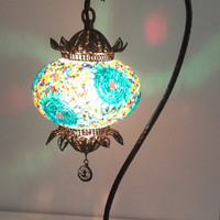 Decorative Handmade mosaic lamp with hand crafted copper base, Bedside night table lamp