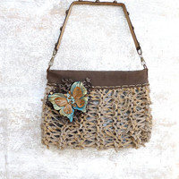 Butterfly leather clutch hand bag, beige leather handbag, butterfly purse, leather wristlet clutch