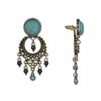 Semi Precious Front and Back Earrings - Turquoise