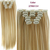 Straight 16 Clips in False Hair Styling Synthetic Clip In Hair Extensions 6pcs/set Heat Resistant Hair Pad
