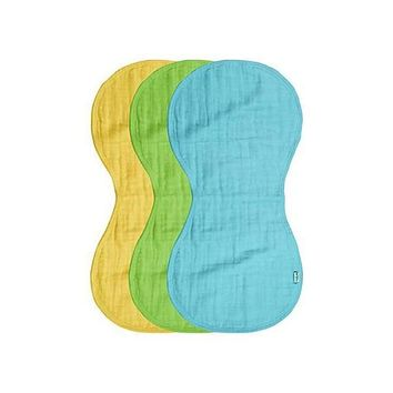 Green Sprouts Muslin Burp Cloths made from Organic Cotton, Aqua Set - 3 pcs