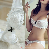 Ultra-thin sexy lace bra thin transparent cup lingerie sexy gauze bra set