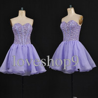 Short Lilac Custom Prom dress Sweetheart Ruffle Chiffon Prom Dress Elegant Bridesmaid Dress Adorable Evening Gown Party Gown