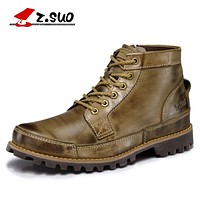 Z.SUO 2017 Autumn Men's Genuine Leather Boots Working Boots Mountain Shoes Vintage Oxford Ankle Boots High Quality Boots Men