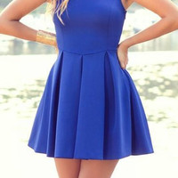 Blue Sleeveless Pleated Dress