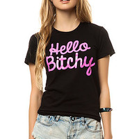 Married To The Mob Tee Hello Bitchy in Black and Hot Pink