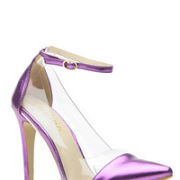 Shimmered in Purple Pointed Toe Ankle Strap Vinyl Heels