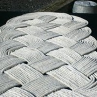 EcoVolveNow Large White Throw Rug Oblong Ocean Plait Mat Upcycled Handwoven in Alaska