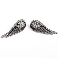 Vintage Silver Tone Clear Crystal Adorned Glitter Angel Wing Style Stud Earrings