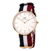 Daniel Wellington 0103DW Men's Classic Cambridge White Dial Rose Gold Steel Nylon Strap Watch