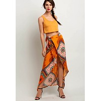 Yellow Bohemian Style Wrap Side Slit Asymmetrical Maxi Skirt