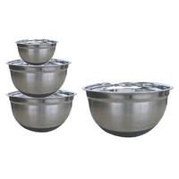 4 Piece Stainless Steel Mixing Bowl Set with Silicone Bottoms