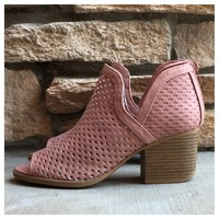 """Style and Flare"" Caged Cutout Open Toe Mauve Heel Booties"