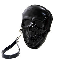 Black Skull Shaped Zippered Wristlet Purse Bag