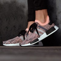 Best Online Sale Adidas NMD R1 W PK Core black/Clear Onix Boost Sport Running Shoes Classic Casual Shoes Sneakers
