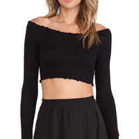 Free People Seamless Off the Shoulder Long Sleeve Top in Black