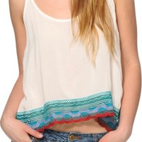 Trillium Jessie Crochet Trim Crop Tank Top