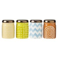 Threshold™ Small Patterned Ceramic Food Storage Canister Set of 4 - Blue/Yellow/Green/Orange