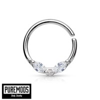 Annealed Septum / Cartilage Hoop With Prong Set Marquise Gems (16G)