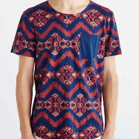 BDG Allover Ikat Open Neck Pocket Standard-Fit