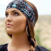 Expandable Headwrap-Fabric 10 (Pink, teal, and black triabl print on a lightweight cotton silk.)