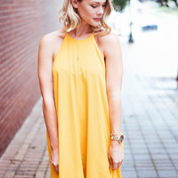 Front Stitch Shift Dress - Mustard