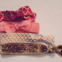 PARIS BOWS Set of 4 Elastic Hair Ties/ hair accessories//travel//preppy//bows//gold//ponytail//party favor//valentines day//gift//wanderlust