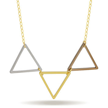 Triangle Stack Necklace, 14K Gold Plated Triple Triangle Necklace, Geometric Necklace