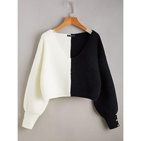 SHEIN Button Detail Two Tone Sweater