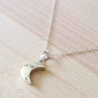 Moon Necklace, Sterling Silver Moon Necklace, Crescent Moon necklace, Large Moon on Long Chain, Silver moon necklace, Long Necklace