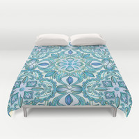 Colored Crayon Floral Pattern in Teal & White Duvet Cover by Micklyn