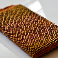 Crochet phone pouch Beaded bronze iphone case Crocheted phone bag Samsung phone pouch Stress relief unisex gift Beaded iphone 7 pouch